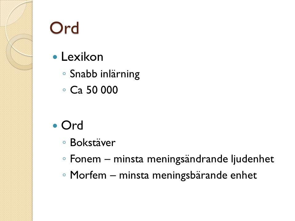 Ord Lexikon ◦ Snabb inlärning ◦ Ca 50 000 Ord ◦ Bokstäver ◦ Fonem – minsta meningsändrande ljudenhet ◦ Morfem – minsta meningsbärande enhet