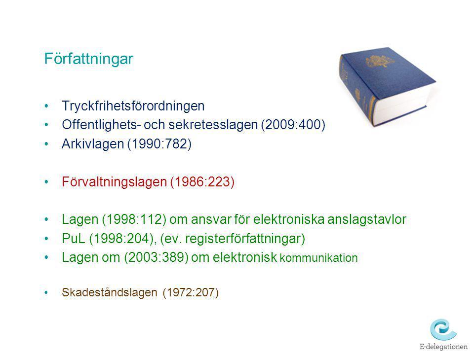 Författningar Tryckfrihetsförordningen Offentlighets- och sekretesslagen (2009:400) Arkivlagen (1990:782) Förvaltningslagen (1986:223) Lagen (1998:112