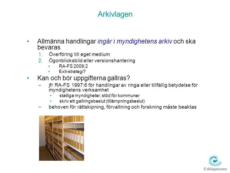 Arkivlagen Allmänna handlingar ingår i myndighetens arkiv och ska bevaras 1.Överföring till eget medium 2.Ögonblicksbild eller versionshantering RA-FS