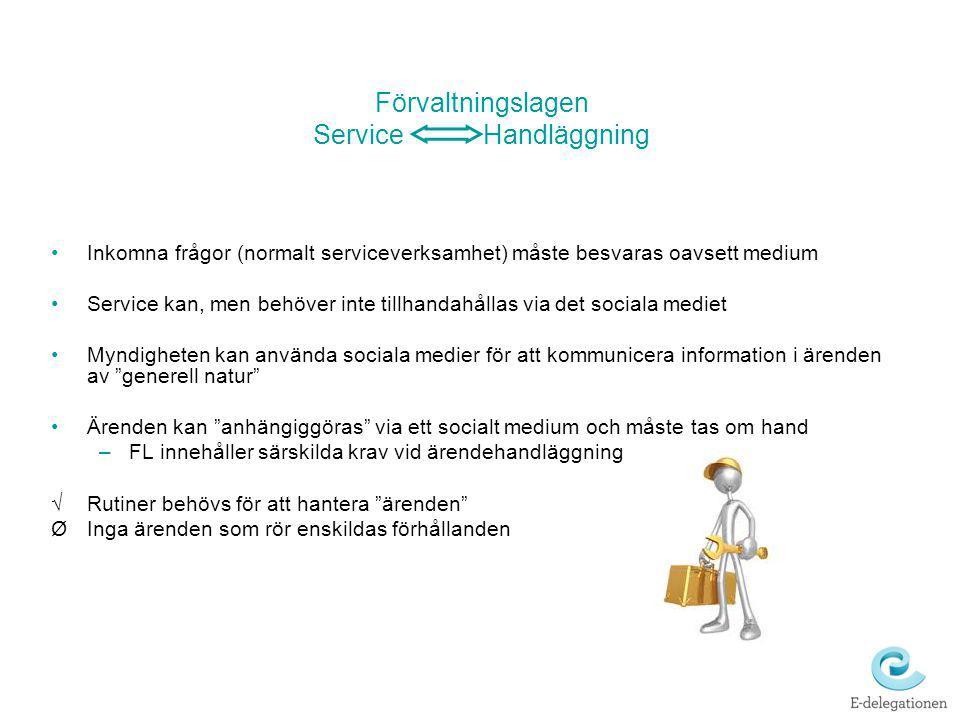 Förvaltningslagen Service Handläggning Inkomna frågor (normalt serviceverksamhet) måste besvaras oavsett medium Service kan, men behöver inte tillhand