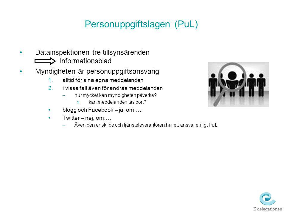 Personuppgiftslagen (PuL) Datainspektionen tre tillsynsärenden Informationsblad Myndigheten är personuppgiftsansvarig 1.alltid för sina egna meddeland