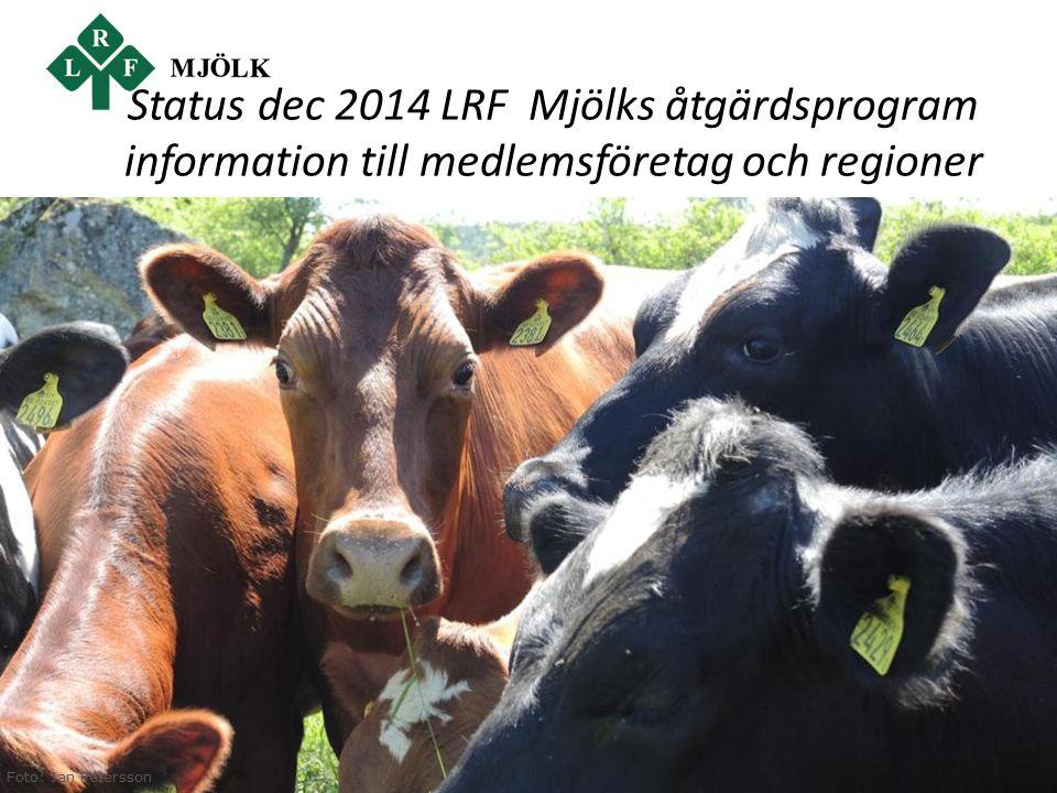 www.lrf.se/mjolk Foto: Jan Peterssonc Status dec 2014 LRF Mjölks åtgärdsprogram information till medlemsföretag och regioner Foto: Jan Petersson