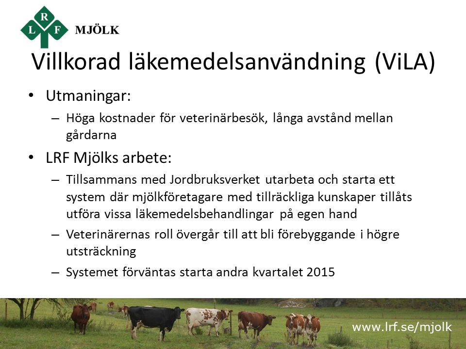 www.lrf.se/mjolk Villkorad läkemedelsanvändning (ViLA) Utmaningar: – Höga kostnader för veterinärbesök, långa avstånd mellan gårdarna LRF Mjölks arbet