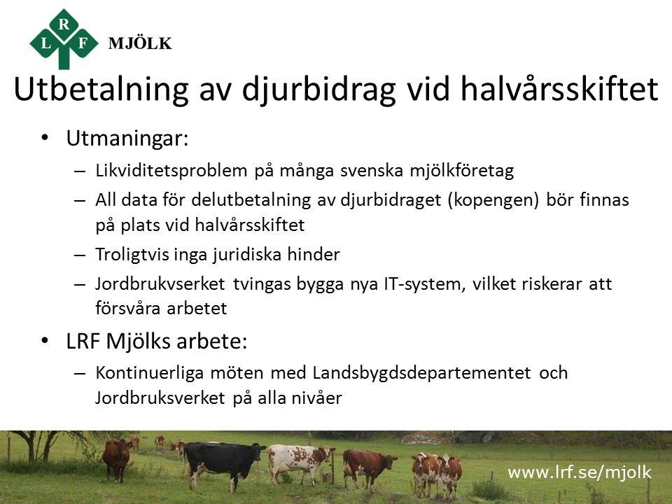 www.lrf.se/mjolk Utbetalning av djurbidrag vid halvårsskiftet Utmaningar: – Likviditetsproblem på många svenska mjölkföretag – All data för delutbetalning av djurbidraget (kopengen) bör finnas på plats vid halvårsskiftet – Troligtvis inga juridiska hinder – Jordbrukvserket tvingas bygga nya IT-system, vilket riskerar att försvåra arbetet LRF Mjölks arbete: – Kontinuerliga möten med Landsbygdsdepartementet och Jordbruksverket på alla nivåer