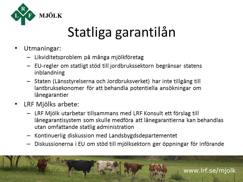www.lrf.se/mjolk Statliga garantilån Utmaningar: – Likviditetsproblem på många mjölkföretag – EU-regler om statligt stöd till jordbrukssektorn begränsar statens inblandning – Staten (Länsstyrelserna och Jordbruksverket) har inte tillgång till lantbruksekonomer för att behandla potentiella ansökningar om lånegarantier LRF Mjölks arbete: – LRF Mjölk utarbetar tillsammans med LRF Konsult ett förslag till lånegarantisystem som skulle medföra att lånegarantierna kan behandlas utan omfattande statlig administration – Kontinuerlig diskussion med Landsbygdsdepartementet – Diskussionerna i EU om stöd till mjölksektorn ger öppningar för införande