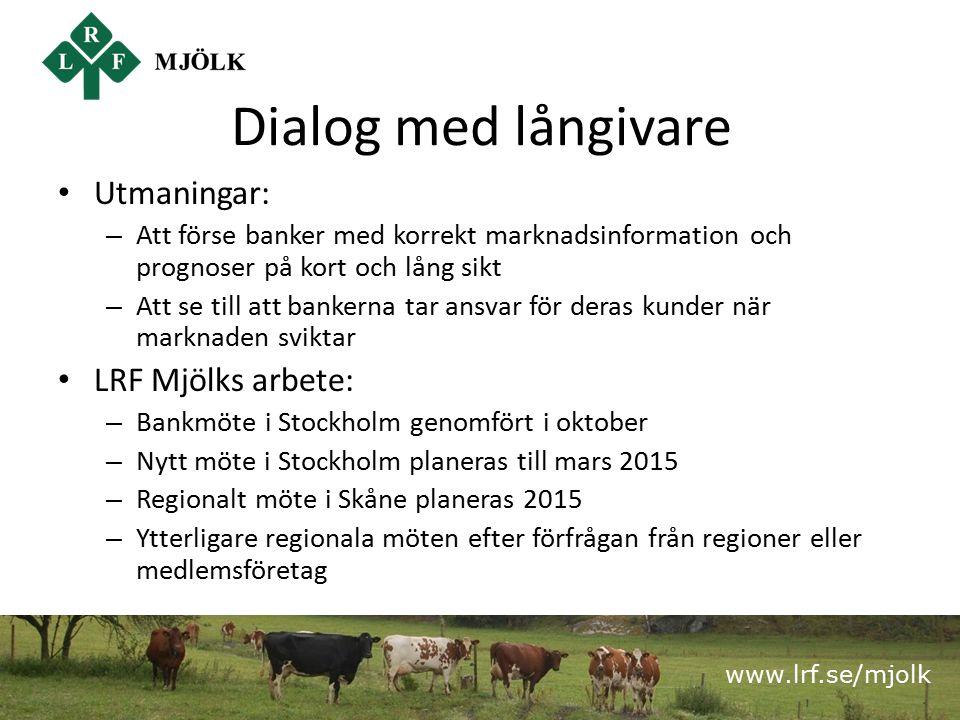 www.lrf.se/mjolk Dialog med långivare Utmaningar: – Att förse banker med korrekt marknadsinformation och prognoser på kort och lång sikt – Att se till