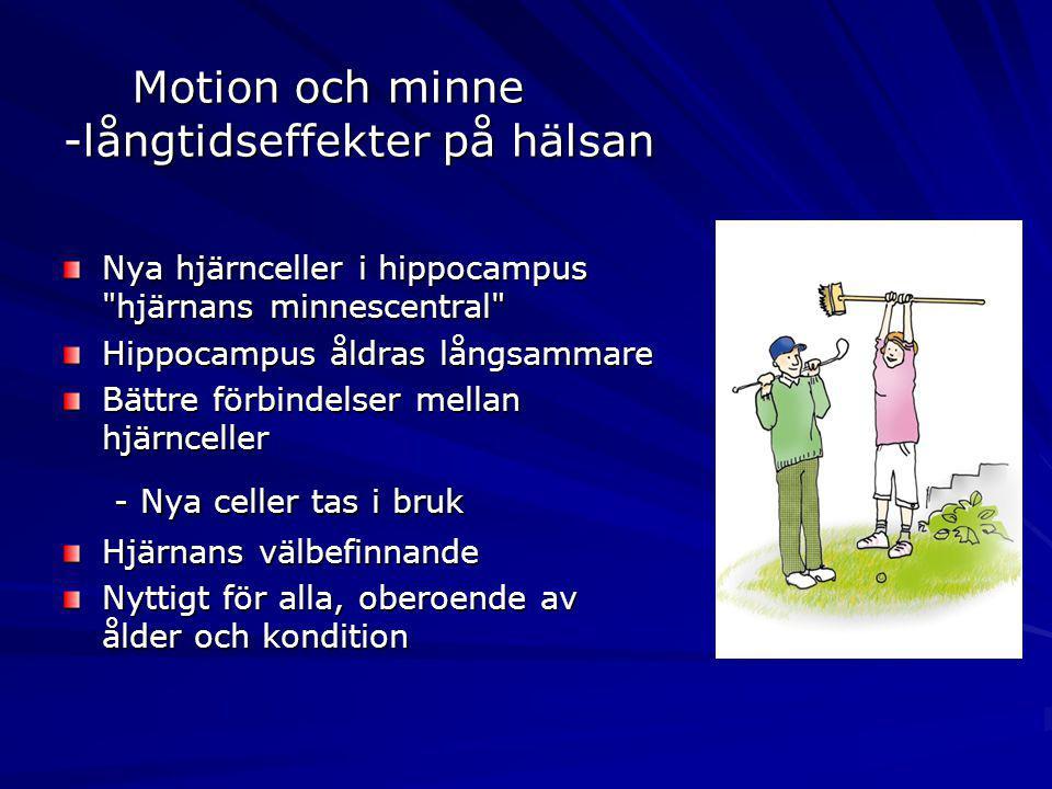 Motion och minne -långtidseffekter på hälsan Nya hjärnceller i hippocampus