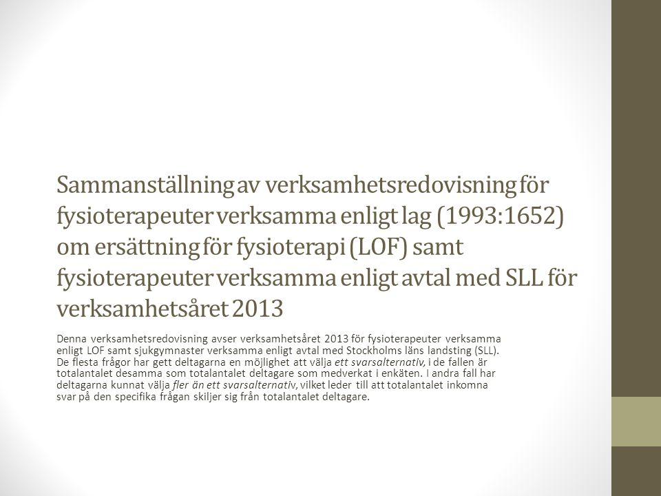 Sammanställning av verksamhetsredovisning för fysioterapeuter verksamma enligt lag (1993:1652) om ersättning för fysioterapi (LOF) samt fysioterapeuter verksamma enligt avtal med SLL för verksamhetsåret 2013 Denna verksamhetsredovisning avser verksamhetsåret 2013 för fysioterapeuter verksamma enligt LOF samt sjukgymnaster verksamma enligt avtal med Stockholms läns landsting (SLL).