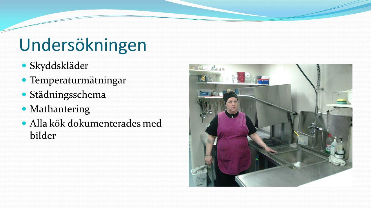 Undersökningen Skyddskläder Temperaturmätningar Städningsschema Mathantering Alla kök dokumenterades med bilder