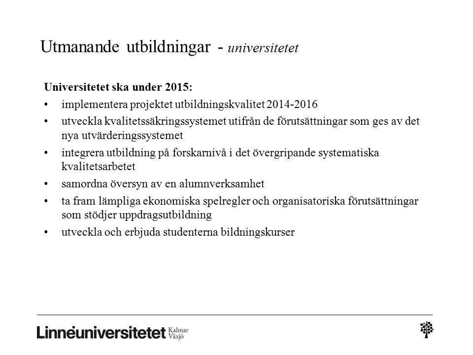 Utmanande utbildningar - universitetet Universitetet ska under 2015: implementera projektet utbildningskvalitet 2014-2016 utveckla kvalitetssäkringssy