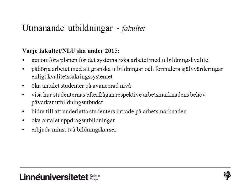 Utmanande utbildningar - fakultet Varje fakultet/NLU ska under 2015: genomföra planen för det systematiska arbetet med utbildningskvalitet påbörja arb