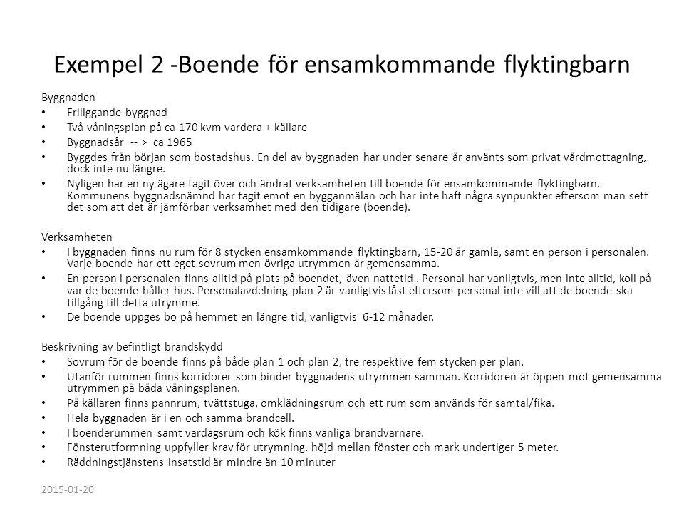 Exempel 2 -Boende för ensamkommande flyktingbarn Byggnaden Friliggande byggnad Två våningsplan på ca 170 kvm vardera + källare Byggnadsår -- > ca 1965
