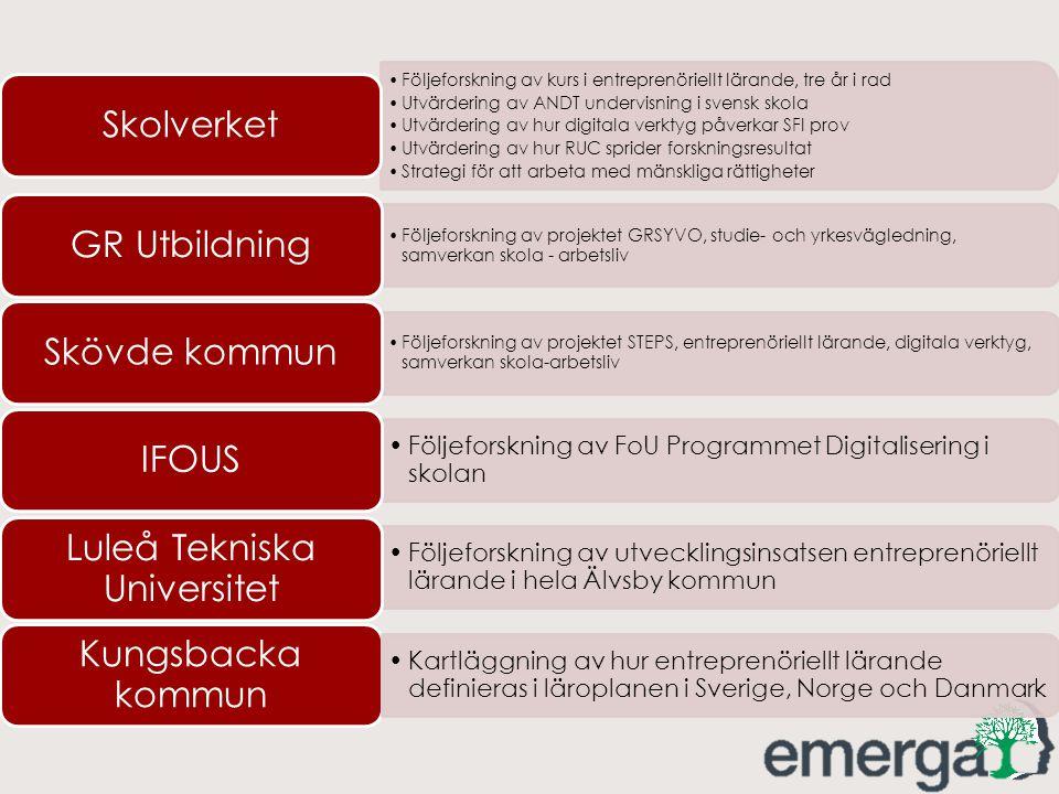 Följeforskning av kurs i entreprenöriellt lärande, tre år i rad Utvärdering av ANDT undervisning i svensk skola Utvärdering av hur digitala verktyg på