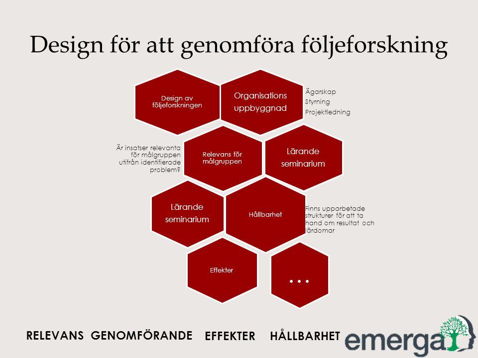 Design för att genomföra följeforskning Organisations uppbyggnad Ägarskap Styrning Projektledning Design av följeforskningen Relevans för målgruppen Ä