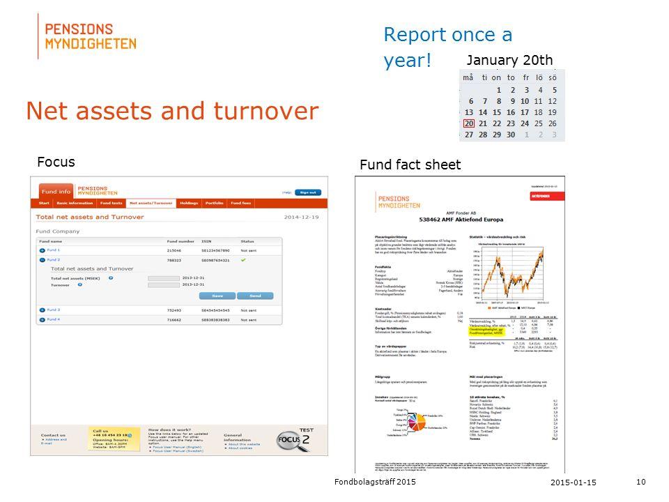 För att uppdatera sidfotstexten, gå till menyfliken: Infoga | Sidhuvud och sidfot. Net assets and turnover 10 2015-01-15 Fondbolagsträff 2015 January