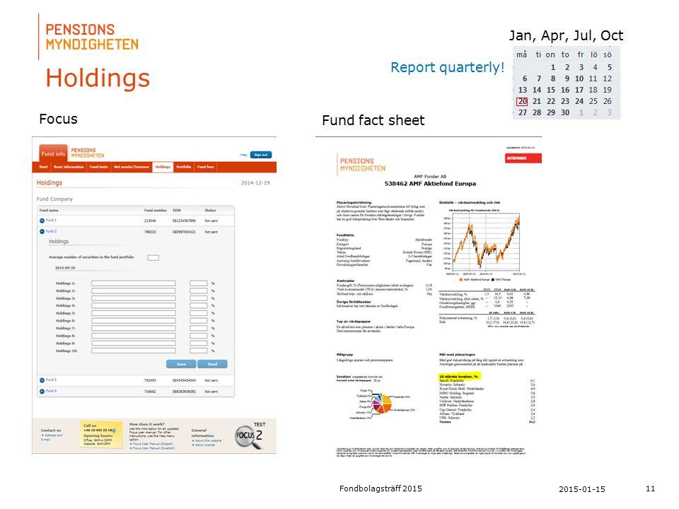 För att uppdatera sidfotstexten, gå till menyfliken: Infoga | Sidhuvud och sidfot. Holdings 11 2015-01-15 Fondbolagsträff 2015 Focus Fund fact sheet R