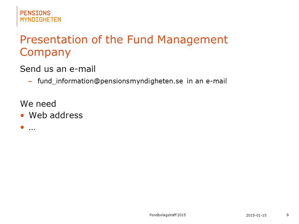 För att uppdatera sidfotstexten, gå till menyfliken: Infoga | Sidhuvud och sidfot. Presentation of the Fund Management Company Send us an e-mail – fun