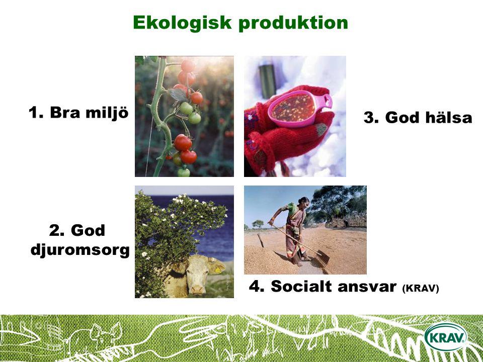 Ekologisk produktion 4. Socialt ansvar (KRAV) 3. God hälsa 2. God djuromsorg 1. Bra miljö