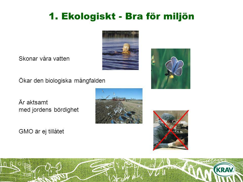 Skonar våra vatten Ökar den biologiska mångfalden Är aktsamt med jordens bördighet GMO är ej tillåtet 1.