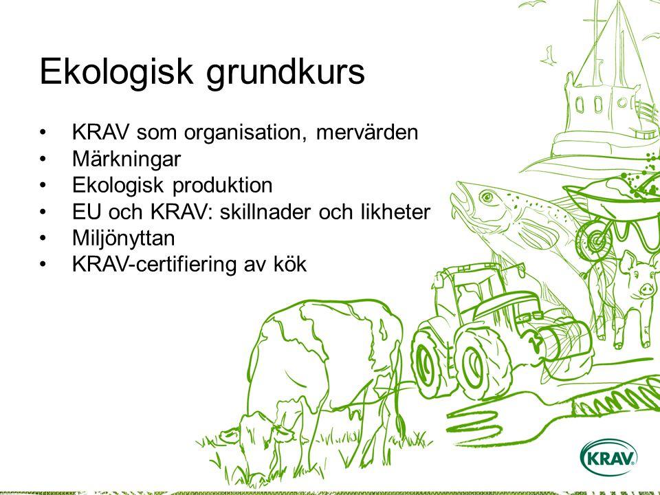Ekologisk grundkurs KRAV som organisation, mervärden Märkningar Ekologisk produktion EU och KRAV: skillnader och likheter Miljönyttan KRAV-certifiering av kök