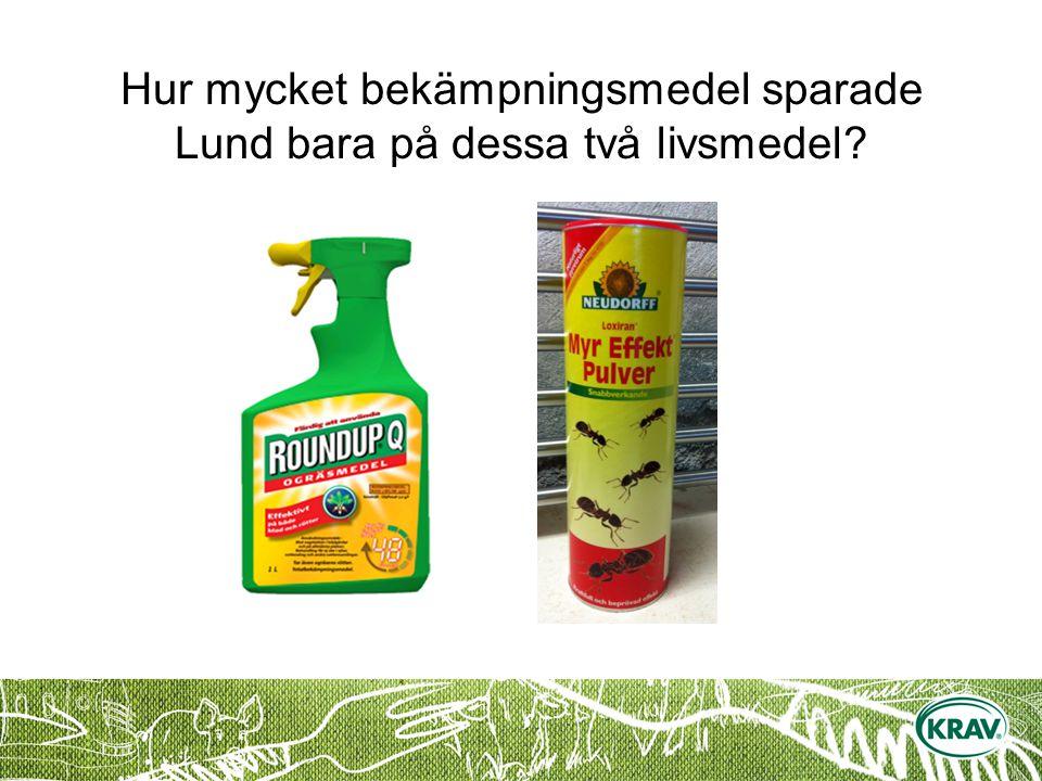Hur mycket bekämpningsmedel sparade Lund bara på dessa två livsmedel?