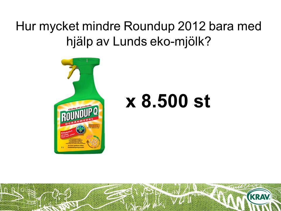 x 8.500 st Hur mycket mindre Roundup 2012 bara med hjälp av Lunds eko-mjölk?