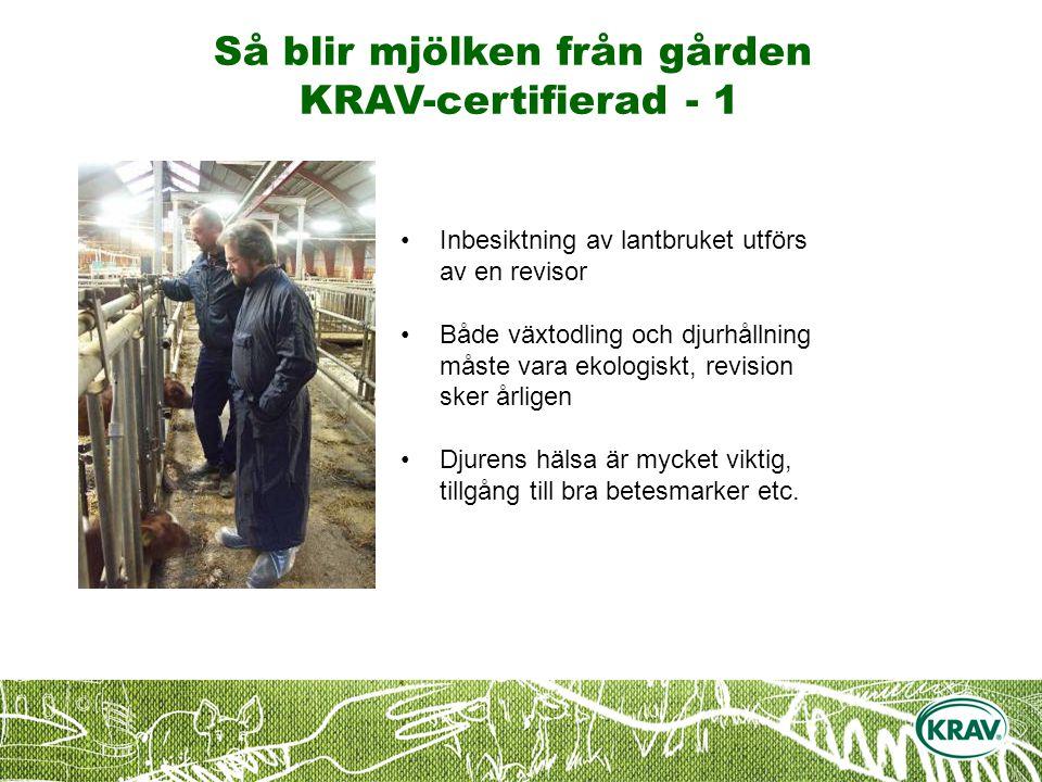 Så blir mjölken från gården KRAV-certifierad - 1 Inbesiktning av lantbruket utförs av en revisor Både växtodling och djurhållning måste vara ekologiskt, revision sker årligen Djurens hälsa är mycket viktig, tillgång till bra betesmarker etc.