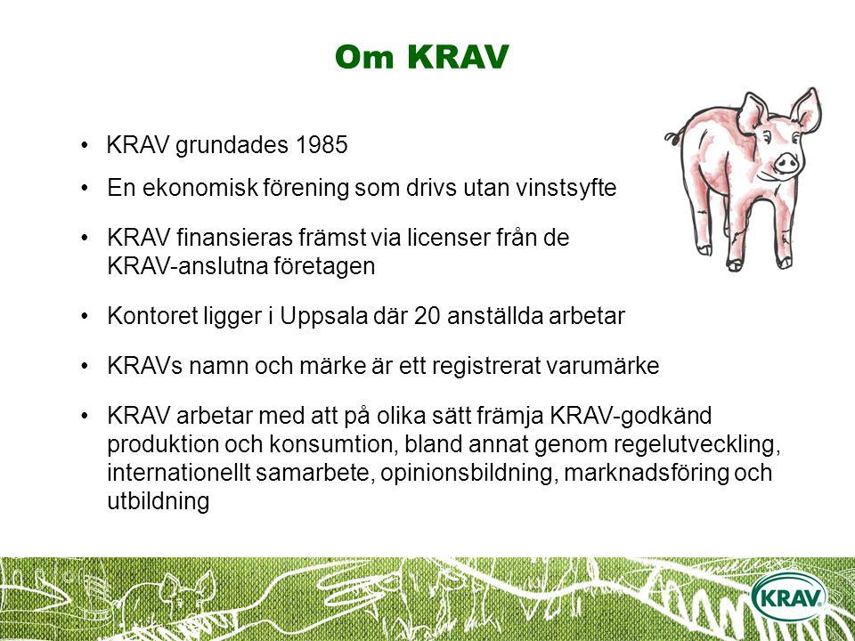 Om KRAV KRAV grundades 1985 En ekonomisk förening som drivs utan vinstsyfte KRAV finansieras främst via licenser från de KRAV-anslutna företagen Kontoret ligger i Uppsala där 20 anställda arbetar KRAVs namn och märke är ett registrerat varumärke KRAV arbetar med att på olika sätt främja KRAV-godkänd produktion och konsumtion, bland annat genom regelutveckling, internationellt samarbete, opinionsbildning, marknadsföring och utbildning