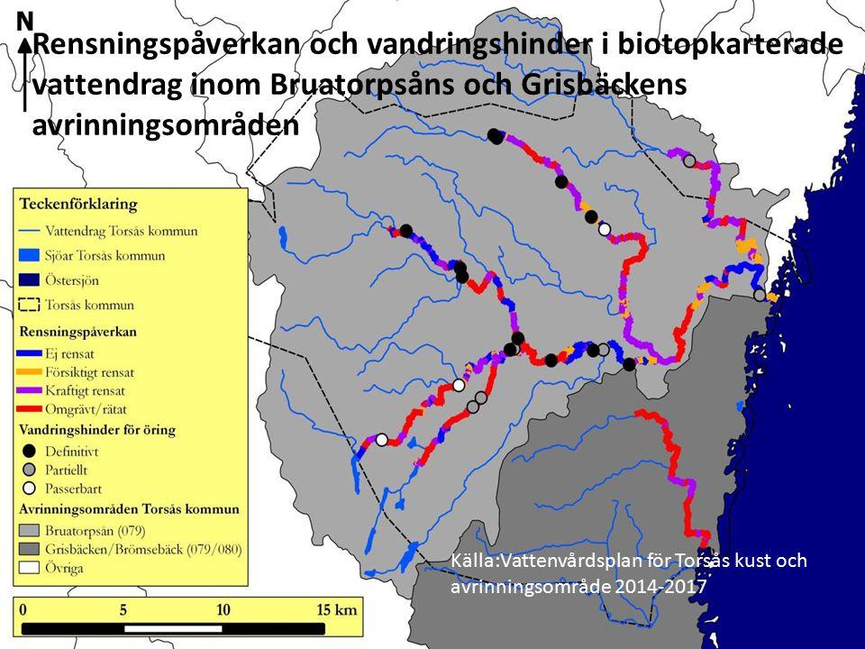 Källa:Vattenvårdsplan för Torsås kust och avrinningsområde 2014-2017 Rensningspåverkan och vandringshinder i biotopkarterade vattendrag inom Bruatorpsåns och Grisbäckens avrinningsområden