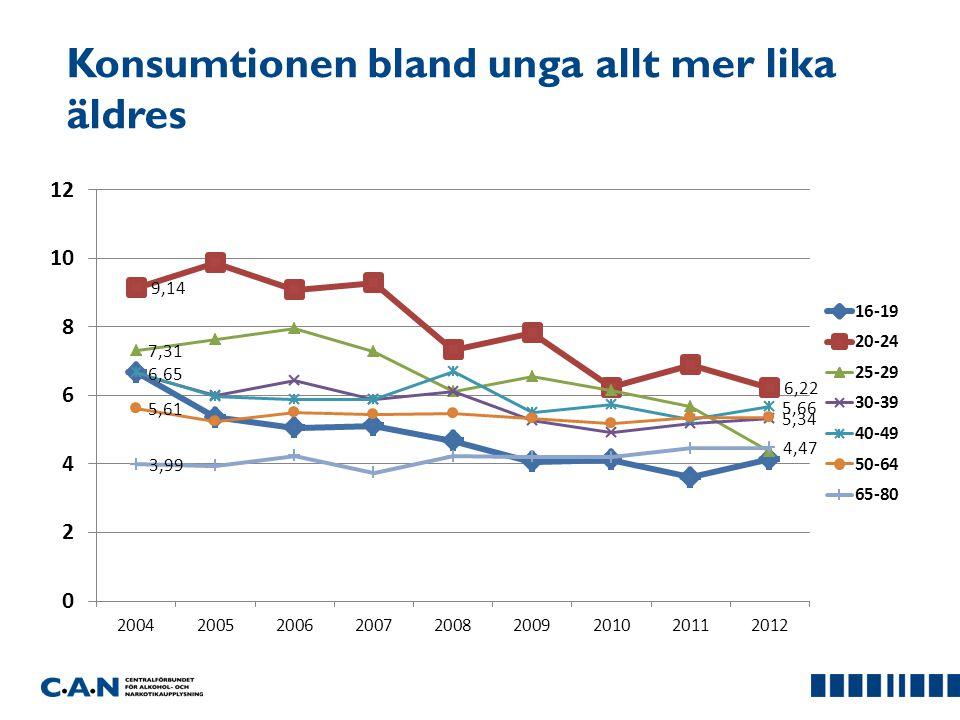 Konsumtionen bland unga allt mer lika äldres