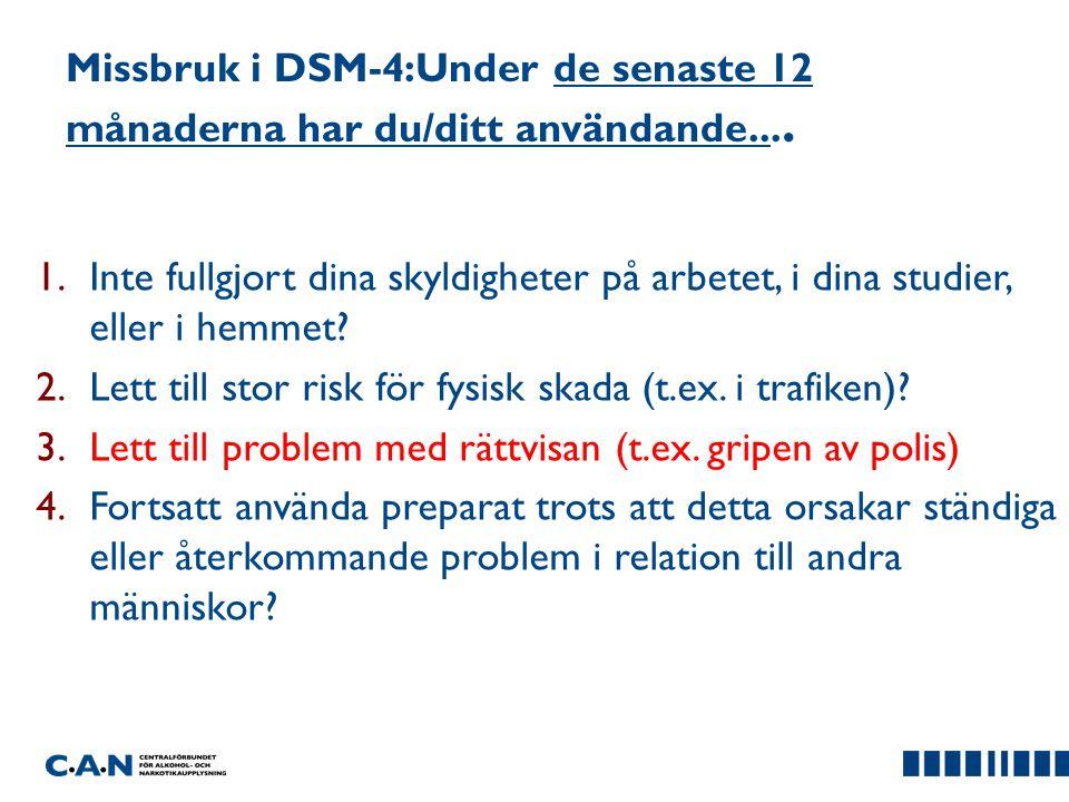 Missbruk i DSM-4:Under de senaste 12 månaderna har du/ditt användande....
