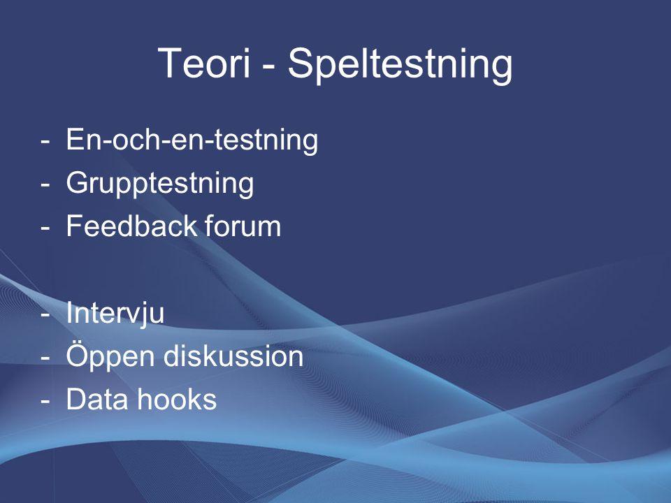 Teori - Speltestning -En-och-en-testning -Grupptestning -Feedback forum -Intervju -Öppen diskussion -Data hooks