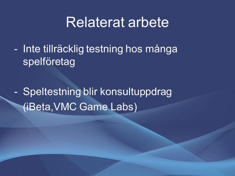 Relaterat arbete -Inte tillräcklig testning hos många spelföretag -Speltestning blir konsultuppdrag (iBeta,VMC Game Labs)
