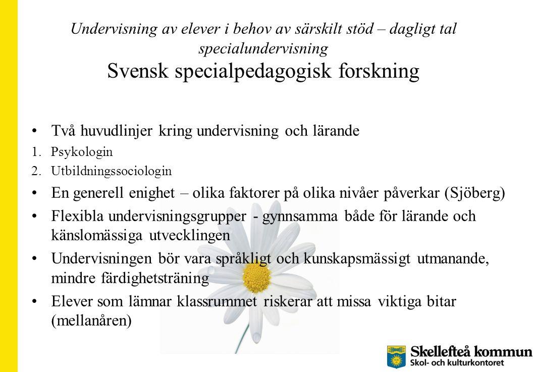 Undervisning av elever i behov av särskilt stöd – dagligt tal specialundervisning Svensk specialpedagogisk forskning Två huvudlinjer kring undervisnin