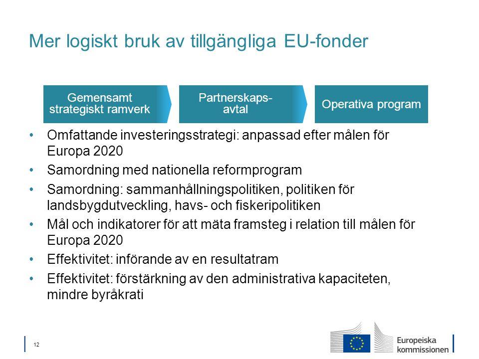 │ 12 Mer logiskt bruk av tillgängliga EU-fonder Omfattande investeringsstrategi: anpassad efter målen för Europa 2020 Samordning med nationella reformprogram Samordning: sammanhållningspolitiken, politiken för landsbygdutveckling, havs- och fiskeripolitiken Mål och indikatorer för att mäta framsteg i relation till målen för Europa 2020 Effektivitet: införande av en resultatram Effektivitet: förstärkning av den administrativa kapaciteten, mindre byråkrati Operativa program Partnerskaps- avtal Gemensamt strategiskt ramverk