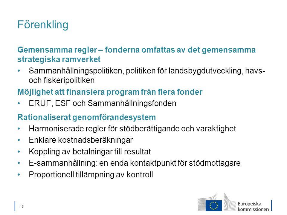 │ 18 Förenkling Gemensamma regler – fonderna omfattas av det gemensamma strategiska ramverket Sammanhållningspolitiken, politiken för landsbygdutveckling, havs- och fiskeripolitiken Möjlighet att finansiera program från flera fonder ERUF, ESF och Sammanhållningsfonden Rationaliserat genomförandesystem Harmoniserade regler för stödberättigande och varaktighet Enklare kostnadsberäkningar Koppling av betalningar till resultat E-sammanhållning: en enda kontaktpunkt för stödmottagare Proportionell tillämpning av kontroll
