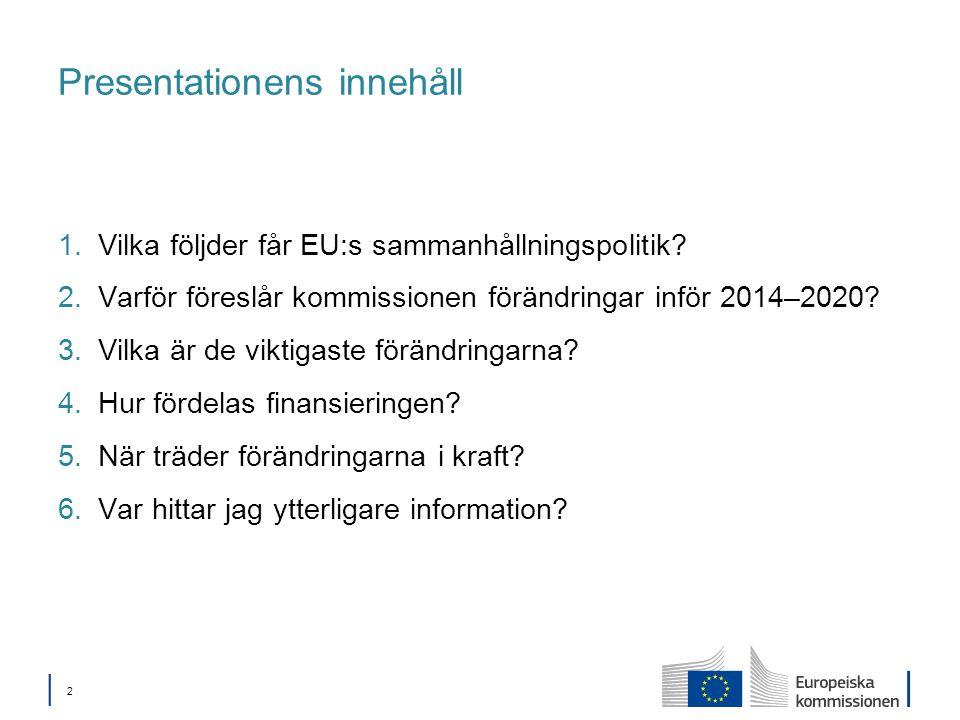 │ 2│ 2 Presentationens innehåll 1.Vilka följder får EU:s sammanhållningspolitik.