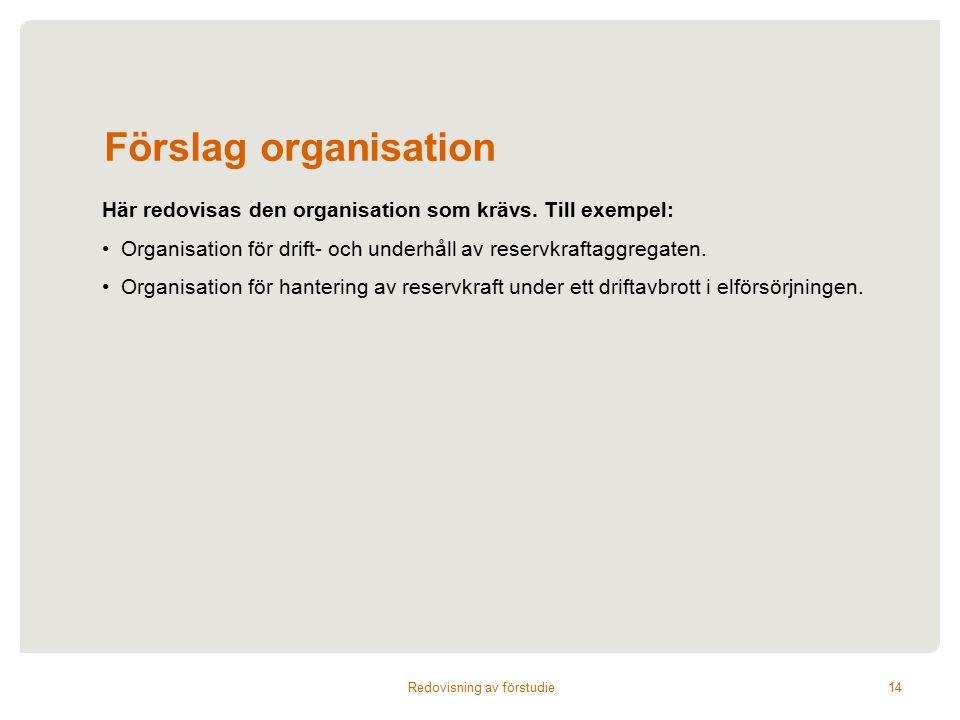 Förslag organisation Här redovisas den organisation som krävs.