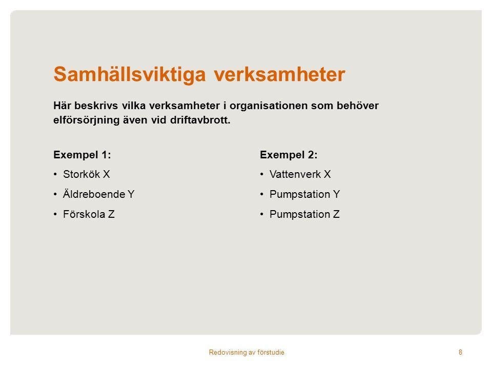 Samhällsviktiga verksamheter Exempel 1: Storkök X Äldreboende Y Förskola Z Exempel 2: Vattenverk X Pumpstation Y Pumpstation Z Här beskrivs vilka verksamheter i organisationen som behöver elförsörjning även vid driftavbrott.