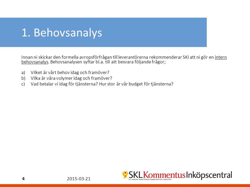 1. Behovsanalys Innan ni skickar den formella avropsförfrågan till leverantörerna rekommenderar SKI att ni gör en intern behovsanalys. Behovsanalysen