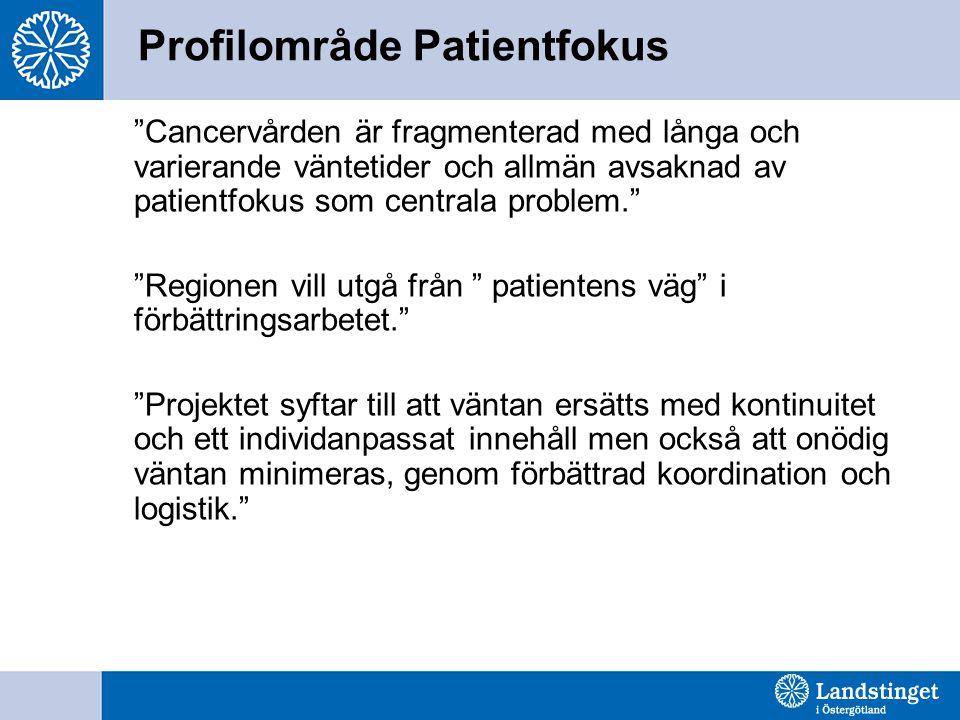 Profilområde Patientfokus Cancervården är fragmenterad med långa och varierande väntetider och allmän avsaknad av patientfokus som centrala problem. Regionen vill utgå från patientens väg i förbättringsarbetet. Projektet syftar till att väntan ersätts med kontinuitet och ett individanpassat innehåll men också att onödig väntan minimeras, genom förbättrad koordination och logistik.