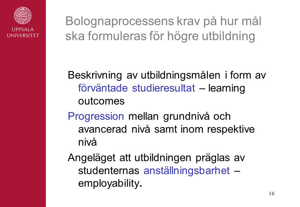 16 Bolognaprocessens krav på hur mål ska formuleras för högre utbildning Beskrivning av utbildningsmålen i form av förväntade studieresultat – learning outcomes Progression mellan grundnivå och avancerad nivå samt inom respektive nivå Angeläget att utbildningen präglas av studenternas anställningsbarhet – employability.