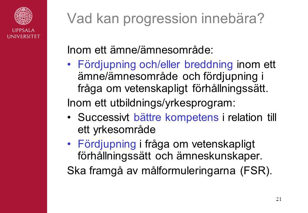 21 Vad kan progression innebära.