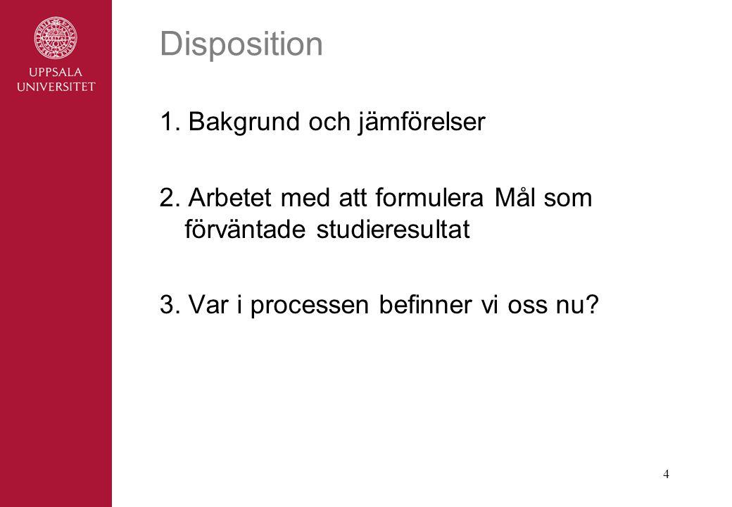 4 Disposition 1.Bakgrund och jämförelser 2.