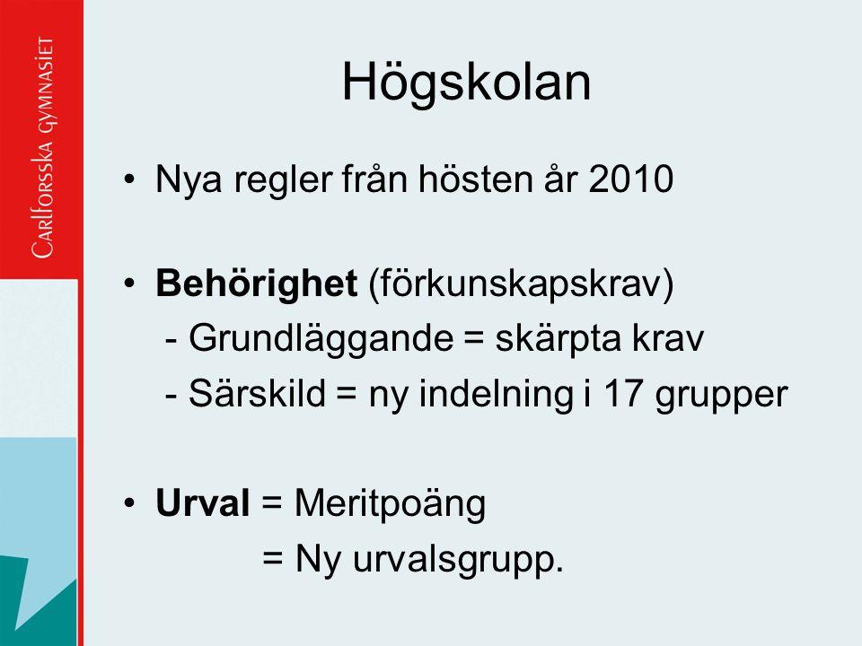 Högskolan Nya regler från hösten år 2010 Behörighet (förkunskapskrav) - Grundläggande = skärpta krav - Särskild = ny indelning i 17 grupper Urval = Me