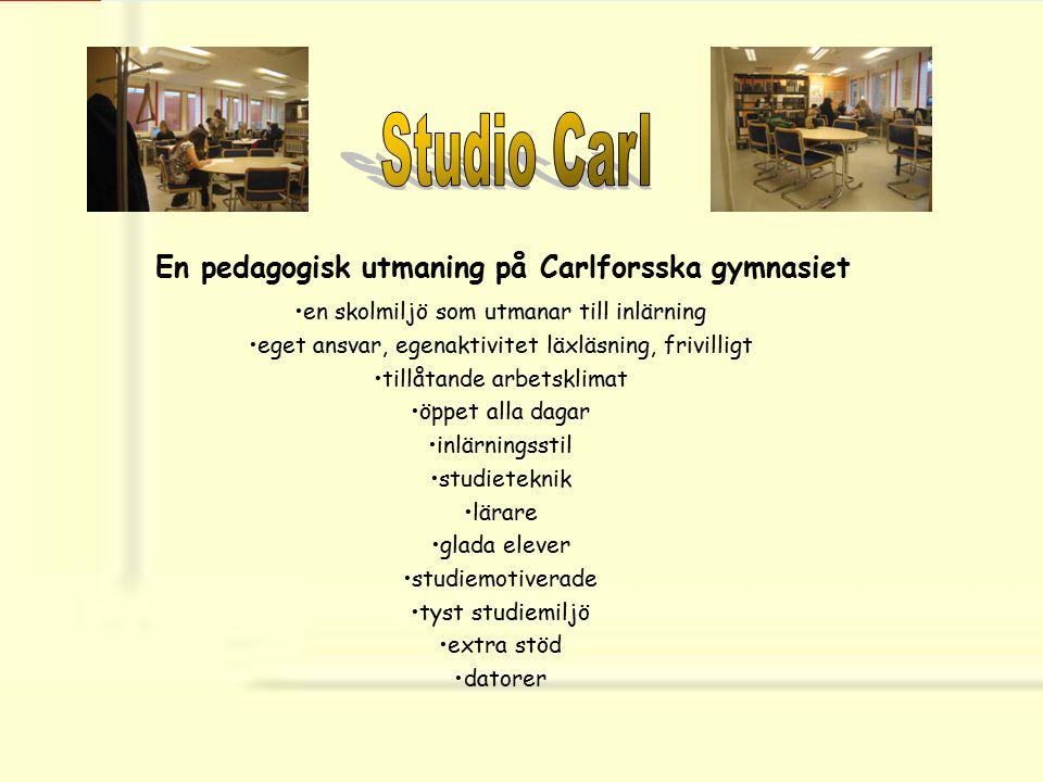 En pedagogisk utmaning på Carlforsska gymnasiet en skolmiljö som utmanar till inlärning eget ansvar, egenaktivitet läxläsning, frivilligt tillåtande a