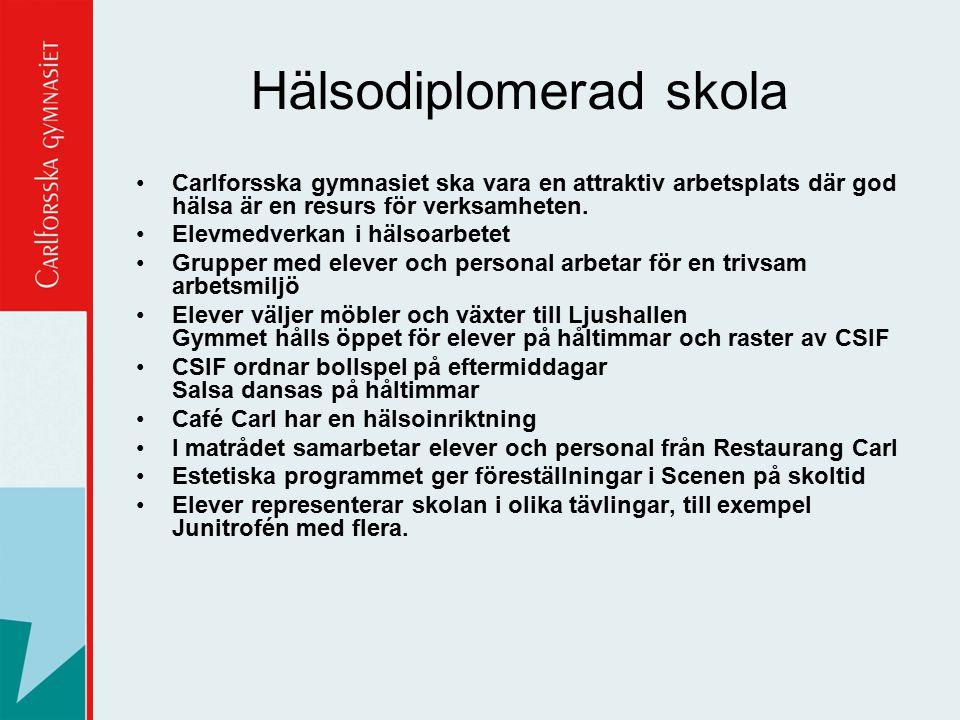 Hälsodiplomerad skola Carlforsska gymnasiet ska vara en attraktiv arbetsplats där god hälsa är en resurs för verksamheten. Elevmedverkan i hälsoarbete