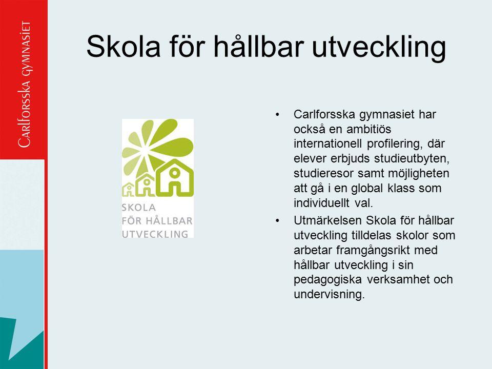 Skola för hållbar utveckling Carlforsska gymnasiet har också en ambitiös internationell profilering, där elever erbjuds studieutbyten, studieresor sam