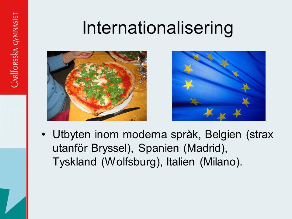 Utbyten inom moderna språk, Belgien (strax utanför Bryssel), Spanien (Madrid), Tyskland (Wolfsburg), Italien (Milano).