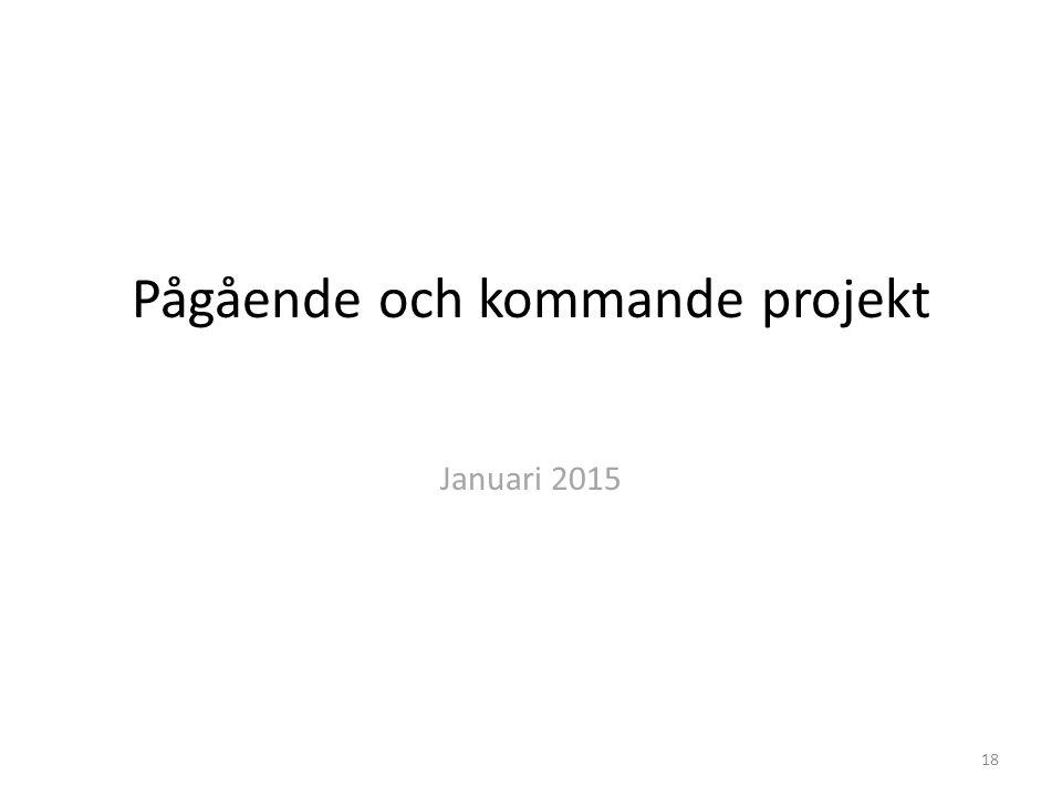 Pågående och kommande projekt Januari 2015 18